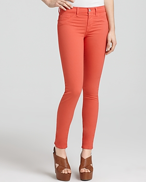 Last year's It color by way of J Brand 811 Mid Rise Luxe Twill Skinny Jeans in Tangerine
