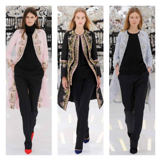 Beaded Edwardian inspired car coats were compelling