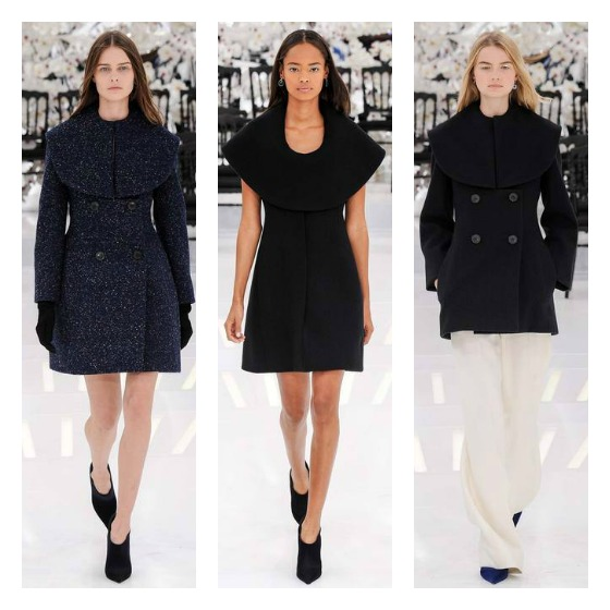 Austere & practical, monochromatic looks were topped off with architectural collars on one passage