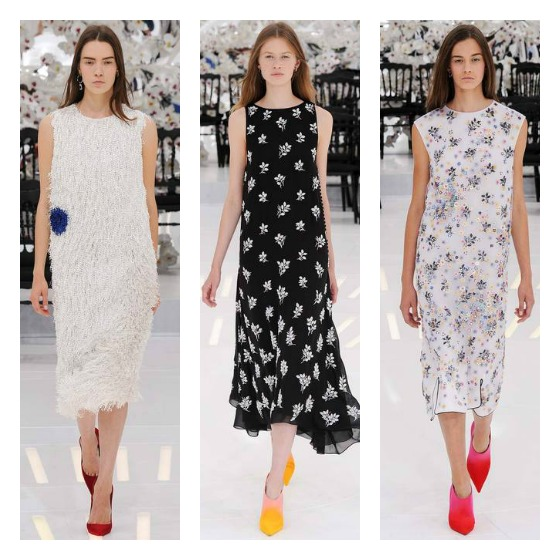 Beaded floral sheath dresses made a pretty statement