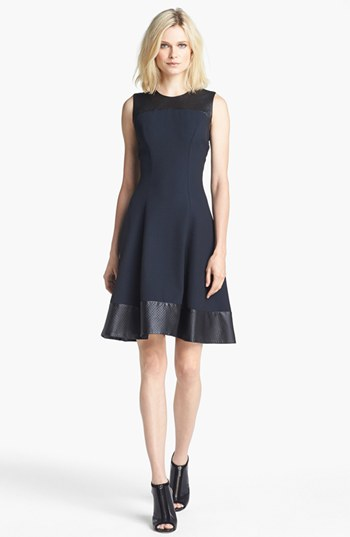 Wanna get a bit fancier? Try this L'AGENCE Embossed Leather Trim Ponte Knit Dress.