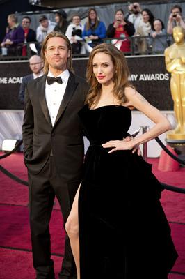 Brad Pitt, Angelina Jolie, and her right leg