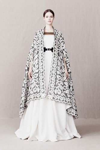 Alexander McQueen, a bigger than life example of the lace trend for Pre-fall 2013, a