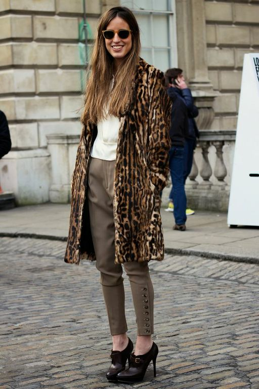 Leopard Coat to spice up monochromatic neutrals