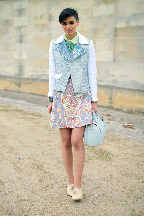 dusty pastels + moto jacket