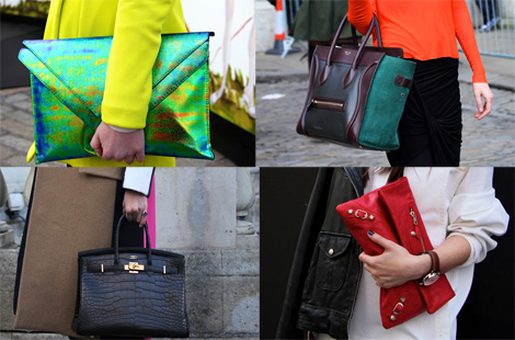 London Fashion Week Street Style Trend: Structured Bags & Colorful Clutches
