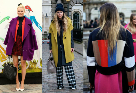 Brilliant Color Blocked Paneling street style seen at Lond Fashion Week, Fall 2013 Collections