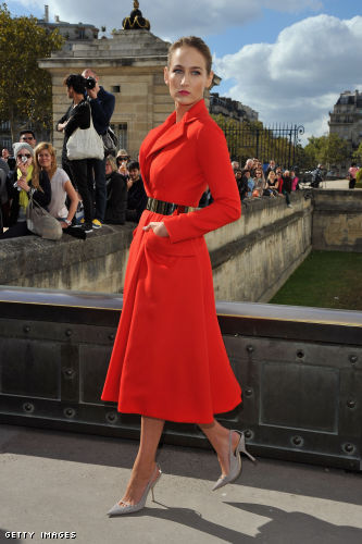 Leelee Sobieski arrives at the Christian Dior Spring / Summer 2013 show as part of Paris Fashion Week