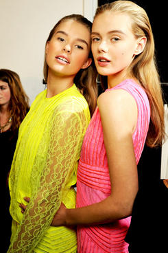 Neon Girls- Backstage at Christopher Kane Spring/Summer 2011