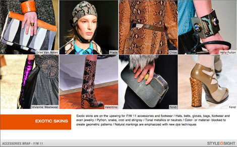 Exotic Skins - StyleSight Fall Accessories Trend Report