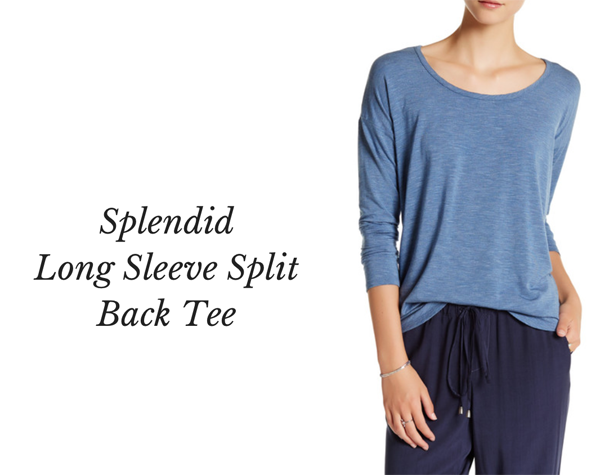 splendidLong Sleeve Split Back Tee