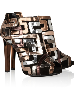 Pierre Hardy Mixed metallic leather-patterned suede ankle boots