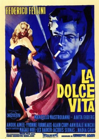 La Dolce Vita (1960) Federico Fellini follows a week in the life of a philandering paparazzo journalist living in Rome played by Marcello Mastroianni
