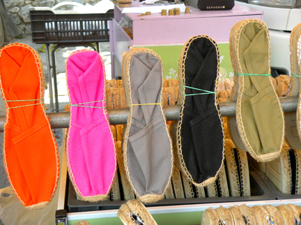 Handmade espadrilles in the Market in Eygalieres