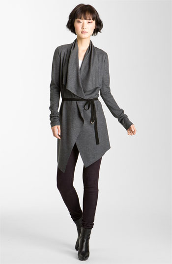 Helmut Lang Belted Wool Cardigan Charcoal Petite A long and drapey open cardigan is gathered with a suede tie belt that subtly defines the shape.