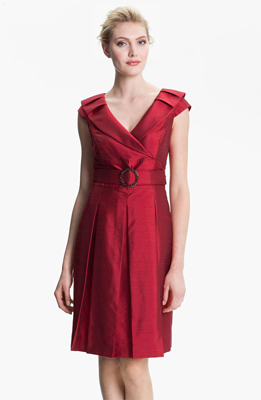 Tahari Belted Portrait Collar Fit & Flare Dress