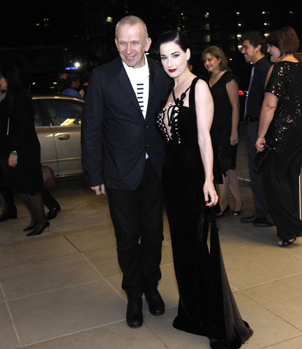 Gaultier and Teese arrive at the U.S. premier of The Fashion World of Jean Paul Gaultier in Dallas, Texas
