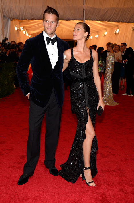 "Gisele Bundchen in Givenchy Haute Couture by Riccardo Tisci with husband Tom Brady at ""Schiaparelli And Prada: Impossible Conversations"" Costume Institute Gala"