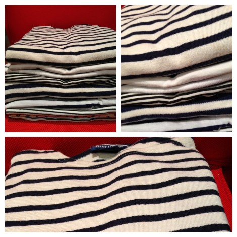 a ridiculous amount of striped t-shirts. folded in a cinch by The Miracle Fold and my lack of patience