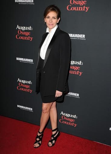 "arrives at the ""August: Osage County"" - Los Angeles Premiere at Regal Cinemas L.A. Live on December 16, 2013 in Los Angeles, California."