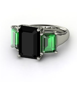Naked-Emerald-Triple-Ring-Emerald-Cut-Black-Onyx-Sterling-Silver-Ring-with-Emerald