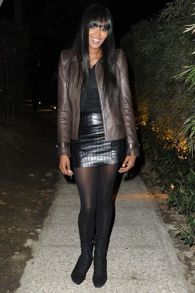 Naomi Campbell masters wearing brown and black Roberto Cavalli