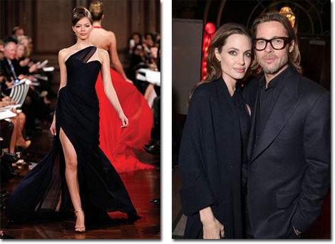 Romona Keveza gown on the runway and on Angelina Jolie, with Brad Pitt