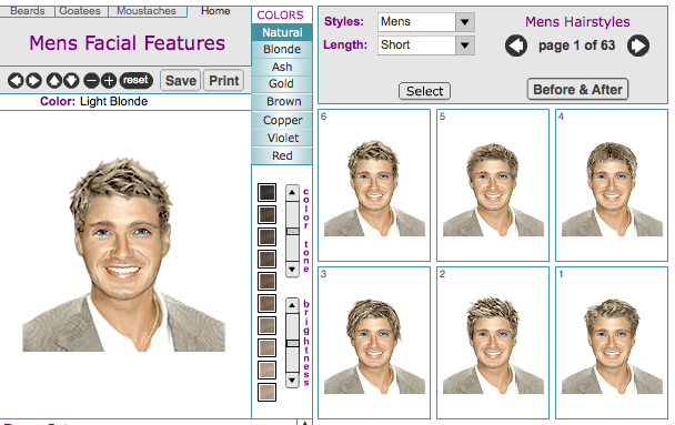 Men\'s Virtual Hairstyle Makeovers Online Tool