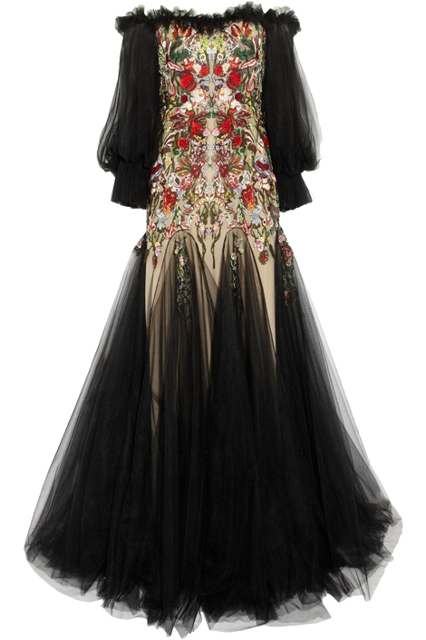 Alexander McQueen Embroidered silk-tulle off-the-shoulder gown $16,830