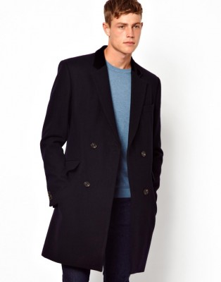 asos mnes navy coat