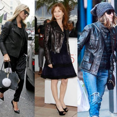 Kate Moss, Isabelle Hupert, Sarah Jessica Parker in black leather jackets