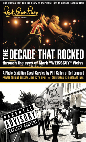 "Invitation for the Rock Paper Photo ""The Decade That Rocked"" photo exhibition by rock 'n roll photographer Mark ""WEISSGUY"" Weiss, curated by Phil Collen of Def Leppard."