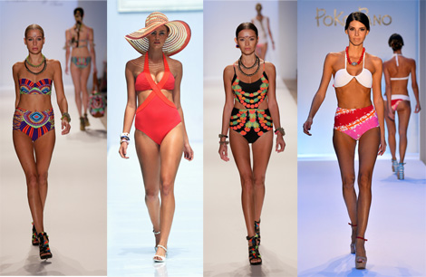 High waist bathing suits seen at Mercedes-Benz Fashion Week Swim 2014. Cutout by BCBGeneration, unmatched by Poko Pano, prints by Mara Hoffman Swim