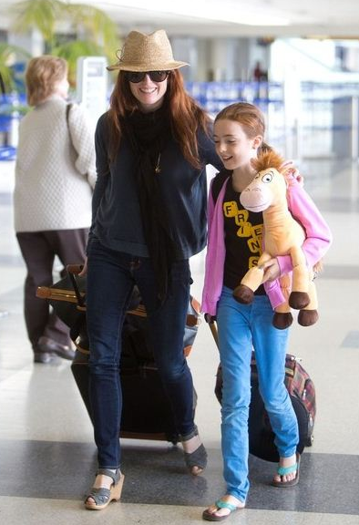 Julianne Moore at LAX wearing Hat Attack's Julia floppy fedora.