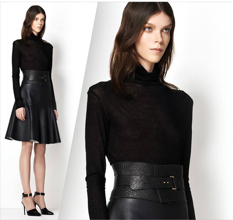 The Best Black Basics: J.Brand Norma Rollneck turleneck, J.Brand Torre Leather Skirt, J.Brand Doris Belt