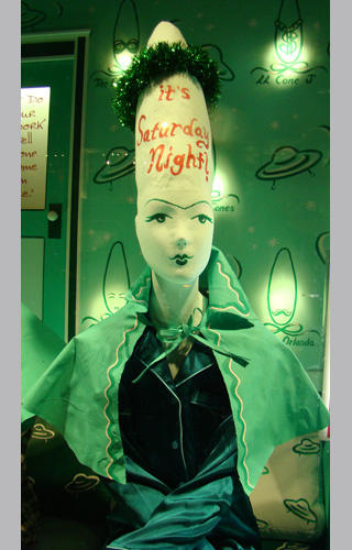 Prymaat Conehead takes up residence in Barney's Christmas windows
