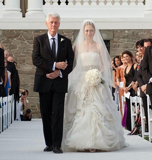 President Bill Clinton walks Chelsea down the aisle
