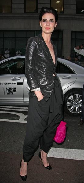 Erin O'Connor at London Fashion Week on way to the Vivienne Westwood Red Label Show