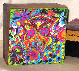 Pop Butterfly Silk Hand-painted Papier Mache Box by PJ Cobbs Arts
