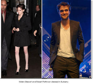 Kirsten Stewart and Robert Pattinson dressed in Burberry