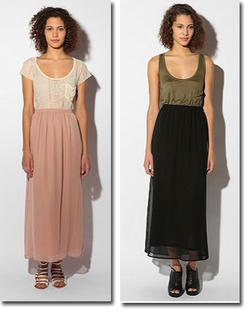 Pins and Needles Chiffon Maxi Skirt in nude or black at Urban Outfitters