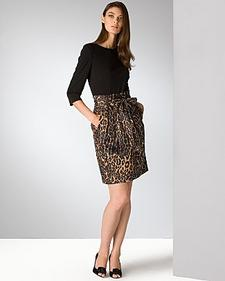 Chetta B - Black/Leopard Combo Dress available at Bloomingdales