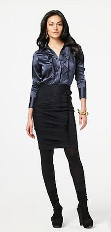 Diane Von Furstenberg Hania Skirt in Navy & Black from DVF.com