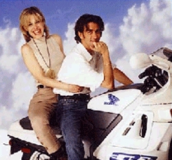yes, that's me as a blonde at a photoshoot motorcycle with Gad