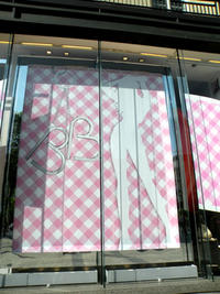 Gingham windows at Lancel Paris for Le Brigitte Bardot