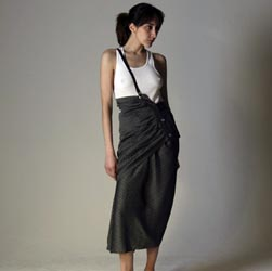 1985 YOHJI YAMAMOTO Asym Sarong Skirt w Suspender Strap that Aimme wore to the 1985 Grammy Awards