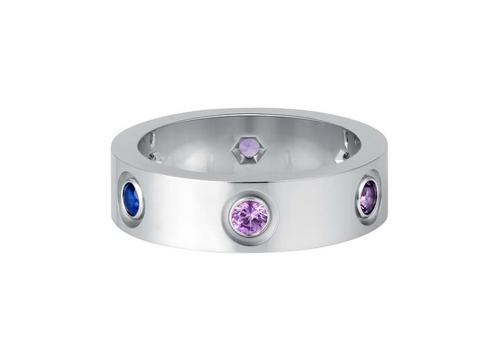 The latest version of the iconic Cartier Love ring in white gold, blue and pink sapphires, purple spinels, amethysts, aquamarines.