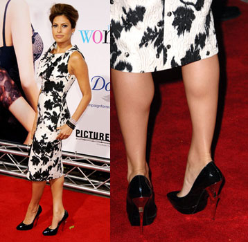 Eva Mendes at a Los Angeles premier in DSquared Flash pumps.
