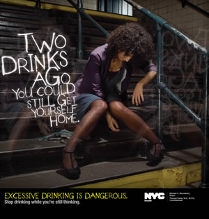 Don't let this be you! NYC Dangers of Excessive Drinking Media Campaign 2010