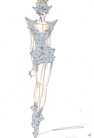 Giorgio Armani sketch of a Lady Gaga costume of his design